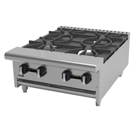 "Hot Plate, natural gas, countertop, 24""W x 32-1/4""D x 11-3/8""H, (4) 30,000 BTU burners, cast iron grates & burners, manual controls, full width removable drip tray, pressure regulator, stainless steel front, sides & landing ledge, adjustable feet, 120,000 BTU, cETLus, (ships with LP conversion kit) Made in North America"