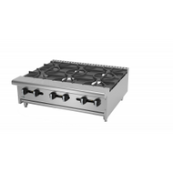 "Hot Plate, natural gas, countertop, 36""W x 32-1/4""D x 11-3/8""H, (6) 30,000 BTU burners, cast iron grates & burners, manual controls, full width removable drip tray, pressure regulator, 180,000 BTU, cETLus, (ships with LP conversion kit) Made in North America"