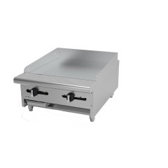 """Griddle, natural gas, countertop, 24""""W x 32-1/4""""D x 13""""H, (2) 24,000 BTU burners, 5/8"""" thick polished steel griddle plate, manual controls, 4""""D grease trough, 14 gauge stainless steel splash guard, pressure regulator, stainless steel front, sides & ledge, adjustable feet, 48,000 BTU, cETLus, (ships with LP conversion kit) Made in North America"""