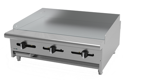 "Griddle, natural gas, countertop, 36""W x 32-1/4""D x 13""H, (3) 24,000 BTU burner, 5/8"" thick polished steel griddle plate, manual controls, 4""D grease trough, 14 gauge stainless steel splash guard, pressure regulator, stainless steel front, sides & ledge, adjustable feet, 72,000 BTU, cETLus, (ships with LP conversion kit) Made in North America"