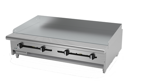 "Griddle, natural gas, countertop, 48""W x 32-1/4""D x 13""H, (4) 24,000 BTU burner, 3/4"" thick polished steel griddle plate, manual controls, 4""D grease trough, 14 gauge stainless steel splash guard, pressure regulator, stainless steel front, sides & ledge, adjustable feet, 96,000 BTU, cETLus, (ships with LP conversion kit) Made in North America"