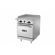 "Restaurant Range, natural gas, 24"", (1) 24"" griddle, 3/4"" thick plate, manual controls, full width grease trough, standard oven base, stainless steel high shelf with reinforced backguard riser, pressure regulator, stainless steel front, sides, backguard & landing ledge, 6"" adjustable steel feet, 76,000 BTU, cETLus, (ships with LP conversion kit) Made in North America"