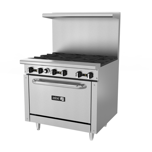"Restaurant Range, gas, 36""W, (6) 30,000 BTU open burners, removable cast iron grates, manual controls, full width grease trough, standard oven, stainless steel high shelf with reinforced backguard riser, pressure regulator, stainless steel front, sides, backguard & landing ledge, 6"" adjustable steel feet, 210,000 BTU, cETLus, Made in North America"