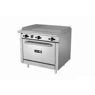 "Restaurant Range, gas, 36"", (1) 36"" griddle, 3/4"" thick plate, manual controls, full width grease trough, standard oven base, stainless steel high shelf with reinforced backguard riser, pressure regulator, stainless steel front, sides, backguard & landing ledge, 6"" adjustable steel feet, 99,000 BTU, cETLus, Made in North America. Call for lead time."