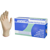 AMMEX stretch synthetic vinyl gloves offer more elasticity than standard vinyl. These exam gloves provide a comfortable, conforming fit. 100 per box, 10 boxes per case. Industries: Childcare, Dental, Medical, Nursing Homes, Food Service