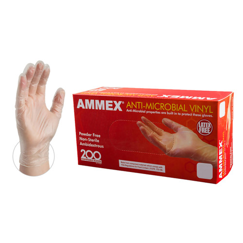 AMMEX anti-microbial vinyl helps prevent cross-contamination by stopping the growth of microbes on the glove surface. This glove is a perfect addition to your food safety program.Industries: Agriculture, Animal Health, Food Processing, Food Service, Janitorial, Nail/Beauty, Painting, Paper/Packaging, Printing