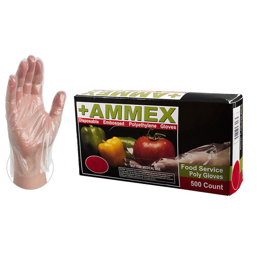 Convenient 500 count boxes means glove are always close at hand. AMMEX poly gloves are perfect for food service and food preparation especially when frequent glove changes are required. Industries: Food Service