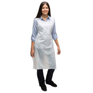 "Poly Apron. Economical and disposable poly aprons are perfect for food service or production. Self-tie easily detaches. Latex free. 28"" x 46"" (36.5"" neckline to hemline).Industries: Industrial, Food Service. 200/ Case. 1.75 Mil"
