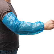 PSLEEVE AMMEX® Poly Sleeves Helps keep area and sleeves clean from dust, dirt, and other contaminants. Comfortable elastic wrists and elbows. Latex free. One size fits most.Industries: Industrial, Food Service, Painting. Blue