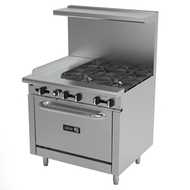 "Restaurant Range, gas, 36"", (4) 30,000 BTU open burners, removable cast iron grates, (1) 12"" griddle, 5/8"" thick plate, manual controls, full width grease trough, standard oven base, stainless steel high shelf with reinforced backguard riser, pressure regulator, stainless steel front, sides, backguard & landing ledge, 6"" adjustable steel feet, 173,000 BTU, cETLus, Made in North America. Call for lead time."