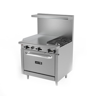 "Restaurant Range, gas, 36"", (2) 30,000 BTU open burners, (1) 24"" griddle with (2) 23,000 BTU burners, removable cast iron grates, manual controls, grease trough, (1) 30,000 BTU standard oven, stainless steel high shelf with backguard riser, stainless steel interior, exterior, front, sides, landing ledge, control valves & kick plate, 6"" adjustable steel feet, 136,000 BTU, cETLus, Made in North America"
