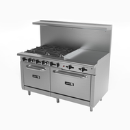 "Restaurant Range, natural gas, 60"", (6) 30,000 BTU open burners, (1) 24"" griddle with (2) 23,000 BTU burners, 3/4"" thick plate, removable cast iron grates, manual controls, grease trough, (2) 30,000 BTU standard ovens, stainless steel high shelf with backguard riser, stainless steel interior, exterior, front, sides, landing ledge, control valves & kick plate, 6"" adjustable steel feet, 286,000 BTU, cETLus, (ships with LP conversion kit) Made in North America"