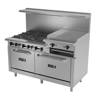 "Restaurant Range, natural gas, 60"", (6) 30,000 BTU open burners, (1) 24"" raised griddle with (2) 23,000 BTU burners, removable cast iron grates, manual controls, grease trough, (2) 30,000 BTU standard ovens, stainless steel high shelf with backguard riser, stainless steel interior, exterior, front, sides, landing ledge, control valves & kick plate, 6"" adjustable steel feet, 286,000 BTU, cETLus, (ships with LP conversion kit) Made in North America"