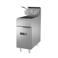 """Fryer, gas, floor model, 50 lb. capacity, (3) 35,000 BTU burners, millivolt controls, left hinged cabinet door, safety shut-off, 1-1/4"""" drain valve, pressure regulator, includes chrome mesh crumb screen & twin baskets, stainless steel fry pot, front, door & sides, casters, 105,000 BTU, cETLus, Made in North America. Call for lead time. Not pictured with casters."""