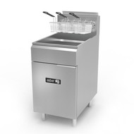 "Fryer, gas, floor model, 75 lb. capacity, (4) 35,000 BTU burners, millivolt controls, left hinged cabinet door, safety shut-off, 1-1/4"" drain valve, pressure regulator, includes chrome mesh crumb screen & (3) baskets, stainless steel fry pot, front, door & basket hanger/flue riser, 6"" adjustable chrome plated legs, 140,000 BTU, cETLus, Made in North America"