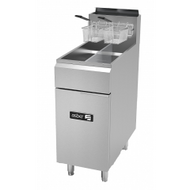 """Fryer, gas, floor model, split top, 50 lb. capacity, (4) 35,000 BTU burners, millivolt controls, left hinged cabinet door, safety shut-off, 1-1/4"""" drain valve, pressure regulator, includes chrome mesh crumb screen & twin baskets, stainless steel fry pot, front, door & sides, casters, 140,000 BTU, cETLus, Made in North America. Call for lead time. Not pictured with casters."""