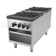 "Stock Pot Range, natural gas, 48""W, (2) 45,000 BTU 2-ring open burners, removable cast iron grates, full width drip pan, dual control valves, open under storage, stainless steel construction, 6"" adjustable legs, 180,000 BTU, cETLus, (ships with LP conversion kit) Made in North America"