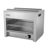 "Cheesemelter, natural gas, 24""W, range or wall-mount, (1) burner, manual controls, (3) position galvanized rack, removable crumb tray, stainless steel front & sides, pressure regulator, 20,000 BTU, cETLus, (ships with LP conversion kit & wall mount kit) Made in North America"