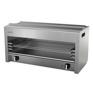 "Cheesemelter, natural gas, 36""W, range or wall-mount, (2) burners, manual controls, (3) position galvanized rack, removable crumb tray, stainless steel front & sides, pressure regulator, 40,000 BTU, cETLus, (ships with LP conversion kit & wall mount kit) Made in North America"