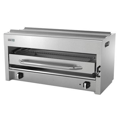 "Salamander Broiler, natural gas, range or wall-mount, 36"", (2) 20,000 BTU burners, adjustable 3 position stainless steel rack, removable crumb tray, pressure regulator, stainless steel front, sides & control panel, 40,000 BTU, cETLus, (ships with LP conversion kit) Made in North America"