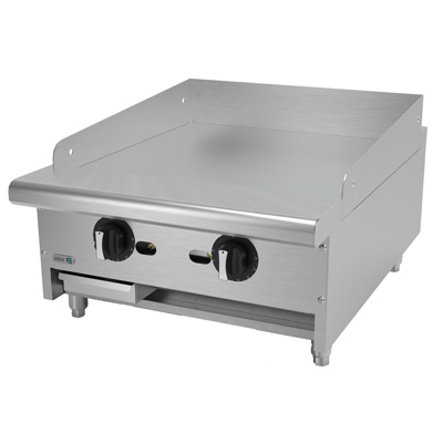 """Griddle, natural gas, countertop, 24""""W x 32-1/4""""D x 13""""H, (2) 24,000 BTU burners, 3/4"""" thick polished steel griddle plate, thermostatic controls, 4""""D grease trough, 14 gauge stainless steel splash guard, pressure regulator, stainless steel front, sides & ledge, adjustable feet, 48,000 BTU, cETLus, (ships with LP conversion kit) Made in North America"""