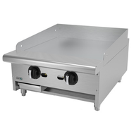 "Griddle, natural gas, countertop, 24""W x 32-1/4""D x 13""H, (2) 24,000 BTU burners, 3/4"" thick polished steel griddle plate, thermostatic controls, 4""D grease trough, 14 gauge stainless steel splash guard, pressure regulator, stainless steel front, sides & ledge, adjustable feet, 48,000 BTU, cETLus, (ships with LP conversion kit) Made in North America"