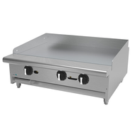 "Griddle, natural gas, countertop, 36""W x 32-1/4""D x 13""H, (3) 24,000 BTU burner, 3/4"" thick polished steel griddle plate, thermostatic controls, 4""D grease trough, 14 gauge stainless steel splash guard, pressure regulator, stainless steel front, sides & ledge, adjustable feet, 72,000 BTU, cETLus, (ships with LP conversion kit) Made in North America"