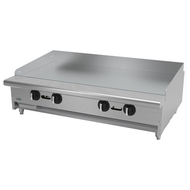 "Griddle, natural gas, countertop, 48""W x 32-1/4""D x 13""H, (4) 24,000 BTU burner, 5/8"" thick polished steel griddle plate, thermostatic controls, 4""D grease trough, 14 gauge stainless steel splash guard, pressure regulator, stainless steel front, sides & ledge, adjustable feet, 96,000 BTU, cETLus, (ships with LP conversion kit) Made in North America"