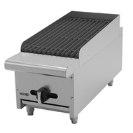 "Radiant Broiler, natural gas, countertop, 12""W, (1) 16,000 BTU burner, reversible & removable cast iron grates, cast iron angled radiants, manual controls, full width drip tray, pressure regulator, stainless steel burners, front, sides & landing ledge, adjustable feet, 16,000 BTU, cETLus, (ships with LP conversion kit) Made in North America"