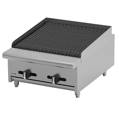 "Radiant Broiler, natural gas, countertop, 24""W, (4) 16,000 BTU burners,reversible & removable cast iron grates, cast iron angled radiants, manual controls, full width drip tray, pressure regulator, stainless steel burners, front, sides & landing ledge, adjustable feet, 64,000 BTU, cETLus, (ships with LP conversion kit) Made in North America"