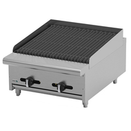 "Char Rock Broiler, natural gas, countertop, 24""W, (4) 16,000 BTU burners, reversible & removable cast iron grates, char rocks, manual controls, full width drip tray, pressure regulator, stainless steel burners, front, sides & landing ledge, adjustable feet, 64,000 BTU, cETLus, (ships with LP conversion kit) Made in North America"