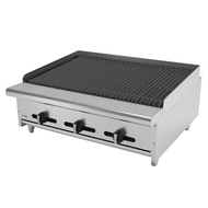 "Char Rock Broiler, natural gas, countertop, 36""W, (6) 16,000 BTU burners, reversible & removable cast iron grates, char rocks, manual controls, full width drip tray, pressure regulator, stainless steel burners, front, sides & landing ledge, adjustable feet, 96,000 BTU, cETLus, (ships with LP conversion kit) Made in North America"