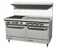 "S-Series Restaurant Range, gas, 60"", (6) 28,000 BTU open burners, (1) 24"" griddle available right or left, manual controls, (2) standard ovens, snap action thermostat, removable cast iron grates, (2) crumb drawers & shelf, hinged lower valve panel, includes (1) rack per oven, stainless steel front, sides, shelf, 4"" front rail & 6"" adjustable legs, 286,000 BTU, cCSAus, CSA Flame, CSA Star, NSF. NOTE MODEL S60DD-3GR s PICTURED"