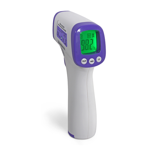 """Infrared Forehead Thermometer, non-contact, temperature range: 95˚F to 109.2˚F (35˚C to 42.9˚C), accuracy: +/- 0.4˚F (0.2˚ C), resolution: 0.1°F/0.1°C, 1-second response, 2-3"""" testing range, auto shut-off, pre-calibrated, 3-color backlight LCD display, memory storage for last 10 readings, requires (2) AAA batteries (included), white, ISO 13485, CE, FDA approved"""