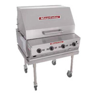 "Magicater AGA Approved Transportable Gas Grill, liquid propane, 30"", (4) burners, stainless steel radiants, (1) nickel-chrome plated top grate, 8"" work deck, spark ignitor, individual control valves, (1) 30"" roll-top hood, (1) 40 pound tank in removable tank cart, pressure regulator, stainless steel construction, stainless steel legs with 6""casters (2 with locks), 80,000 BTU, CSA Flame, CSA Star, NSF"