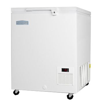"""Chest Freezer, 29""""W, 4.8 cu. ft. capacity, (1) solid lift-up door with remain-open feature, handle-mounted lock, -45°C operation, manual defrost, digital thermostat & display, probe hole, self-contained side mounted refrigeration, R404a refrigerant, white exterior & door finish, (4) casters, 115v/60/1-ph, 3.36 amps, UL, UL-Sanitation (Commercial & Medical)"""