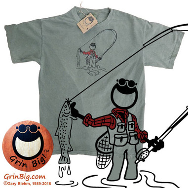Men's fly fishing t-shirt from the official Grin Big!™ outdoor clothing store with 100% ring spun cotton comfort and a manly message of optimism, positive vibes, and the love of life in the great outdoors.