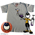 Men's 100% Cotton T-Shirt featuring Penman the Optimist opening a bottle of red wine and a glass half full.