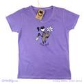 Grin Big! Women's Cotton T-Shirt with Daisy Gardening Flower Pot