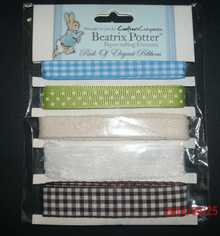 BEATRIX POTTER MALE Ribbon Pack 1Meter Ea of 5 Quality Ribbons