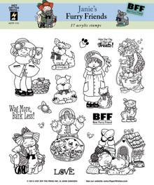 17 HOTP Janie's Furry Friends 1173 Rubber Stamps Janie Dawson Unmounted