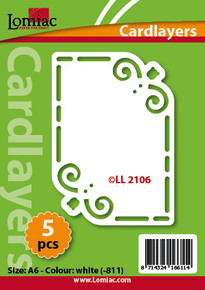 Card Layers 5 WHITE A6 Tulip Corners LL2106 Die Cut Card Accents Making