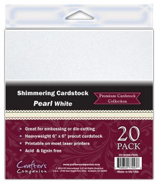 6X6 Shimmering Cardstock PEARL WHITE 20 Sheets Great for embossing and die cutting Crafter's Companion