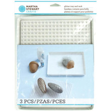 Glitter Tray & Rack 3pc Metal Tray Drying Rack Glitter Brush Martha Stewart
