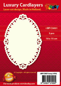 Luxury Cardlayers 3pc Oval C5831 Ivory Laser-Cut Card Accents Making