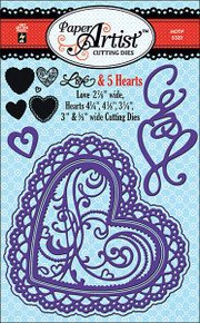 Paper Artist 5320 Love & 5 Hearts Cutting Dies by Hot Off the Press Works in Most Popular Tabletop Die Cutting Machines