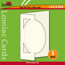 5 White Lomiac Die-Cut A6 Oval Cards Making
