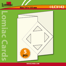 "5 White Lomiac Die-Cut ZigZag Square With Square 5.25x5.25"" Cards Making"