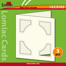 "5 Red Lomiac Die-Cut Square with Circle Cards 5.25x5.25"" Cards Making"