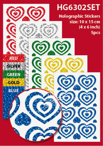 "5-Sheet Assorted Hearts 4x6"" Holographic HG6302SET Gold Blue Green Red Stickers Set Peel"
